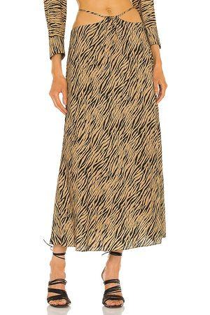 JONATHAN SIMKHAI Shiloh Strap Detail Skirt in Tan.
