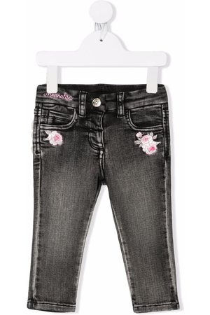 Monnalisa Jeans - Floral-embroidered jeans