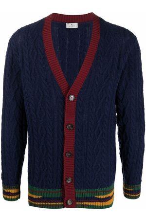 Etro Stripe-hem cable knit cardigan