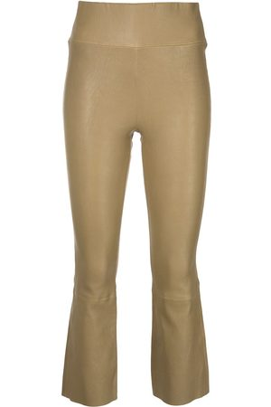 Sprwmn Women Leather Pants - High-waisted cropped leather trousers