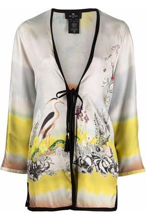 Etro Women Kimonos - Floral-print silk kimono - Neutrals