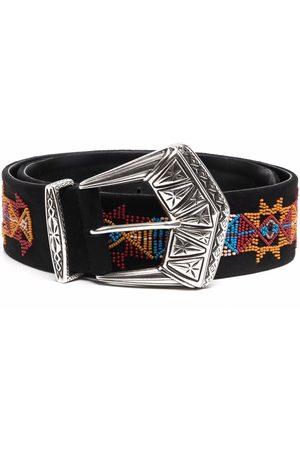 Etro Geometric-print leather belt