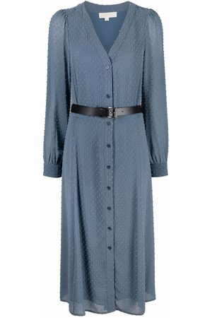 Michael Kors Belted long-sleeved midi dress