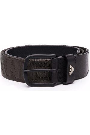 Emporio Armani Jacquard-logo leather belt