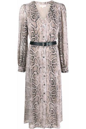 Michael Kors Snake-print belted shirt dress - Neutrals