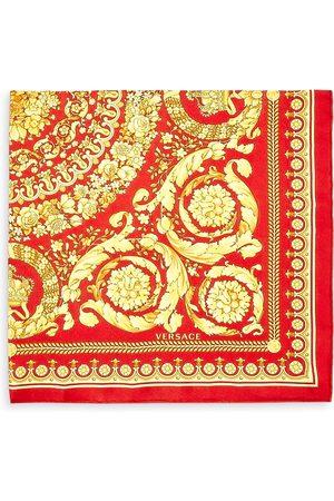VERSACE Men Scarves - Baroque Floral Print Silk Scarf