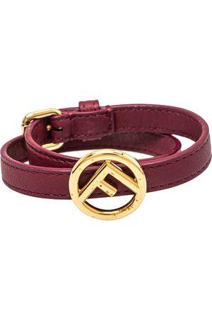 Fendi F is Burgundy Leather Double Wrap Bracelet M