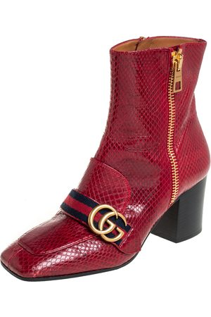 Gucci Python Web GG Marmont Block Heel Ankle Boots Size 37.5