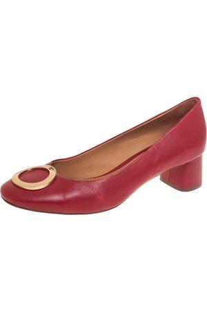 Tory Burch Leather Caterina Block Heel Pumps Size 39