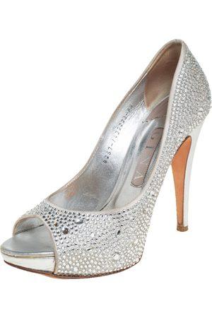 Gina Women Platform Pumps - Satin Crystal Embellished Peep Toe Platform Pumps Size 38.5