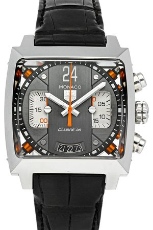 Tag Heuer Grey Stainless Steel Monaco 24 Chronograph Calibre 36 CAL5112.FC6298 Men's Wristwatch 40.5 MM