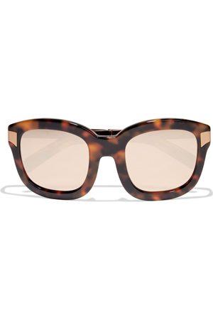 LINDA FARROW Women Square - Woman Oversized Square-frame Gold-tone And Tortoiseshell Acetate Mirrored Sunglasses Size