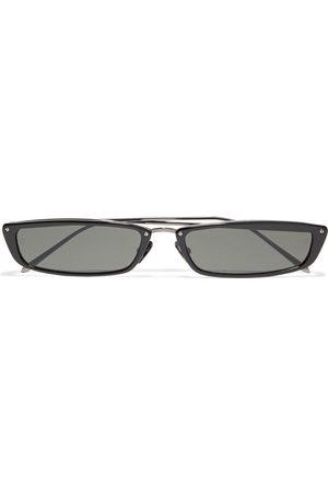 LINDA FARROW Woman Issa Rectangle-frame Gunmetal-tone And Acetate Sunglasses Size