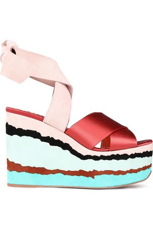 MISSONI Women Heeled Sandals - Woman Suede And Satin Wedge Sandals Brick Size 36