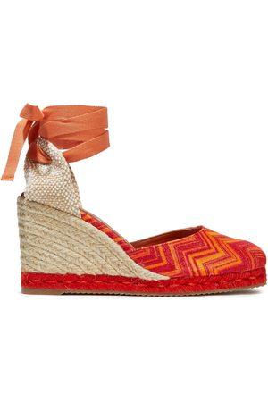 Missoni Women Wedges - Woman Metallic Crochet-knit Wedge Espadrilles Bright Size 36
