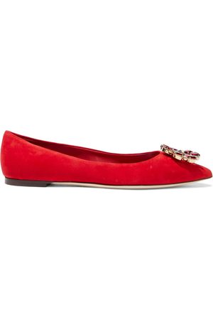 Dolce & Gabbana Women Flat Shoes - Woman Bellucci Crystal-embellished Suede Point-toe Flats Size 35.5
