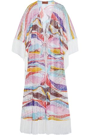 MISSONI MARE Women Beach Dresses - Woman Mare Tie-front Fringed Printed Crochet-knit Kaftan Size 38