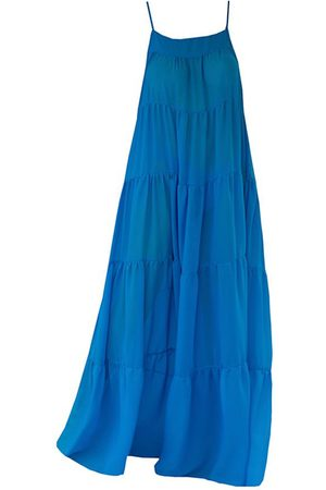 Ostra Brasil Azure Tiered Full Length Beach Dress