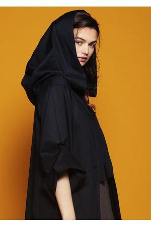 MARAINA LONDON Women Bathrobes - HORTENSE dark striped cotton hooded beach robe