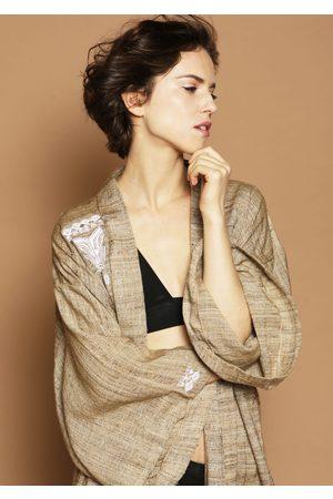 MARAINA LONDON ANA raw silk wrap kimono-style robe