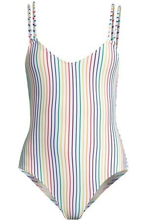 Solid and Striped Women's The Lynn One-Piece Swimsuit - Rainbow Stripe - Size XL