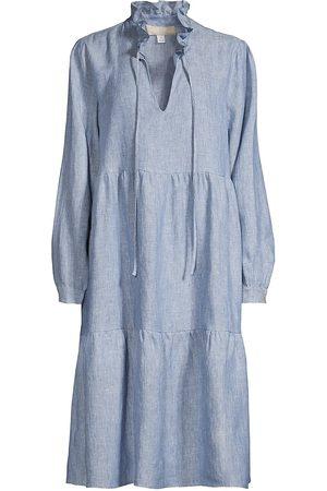 120% Lino 120% Lino Women's Linen Ruffle Tiered Dress - Denim - Size XL
