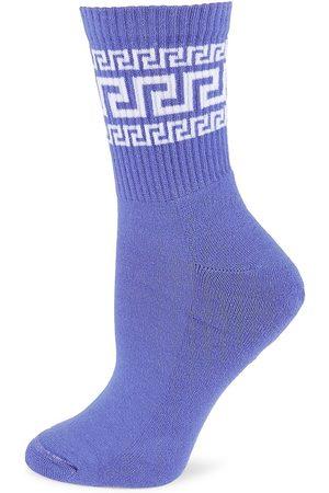 VERSACE Women's Greek Logo Socks - - Size Medium