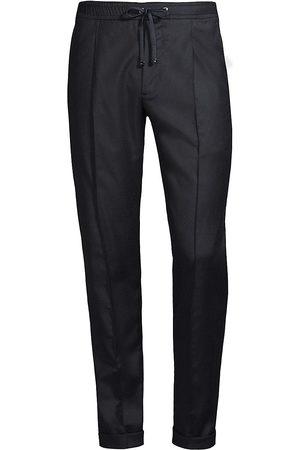 ISAIA Men T-shirts - Men's Drawstring Dress Pants - Navy - Size 38