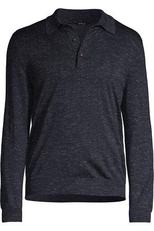 Kiton Men Polo Shirts - Men's Long-Sleeve Polo Shirt - Dark Grey Navy - Size Medium