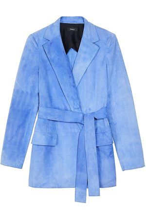 THEORY Women Leather Jackets - Women's Suede Belted Jacket - Periwinkle - Size 6