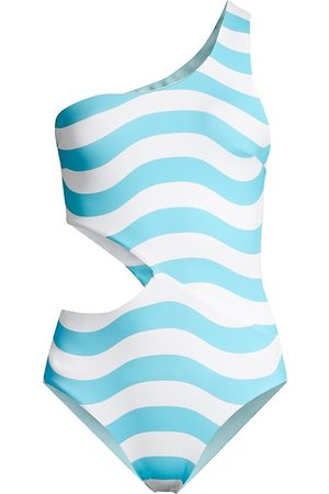 Solid and Striped Women Swimsuits - Women's The Claudia Reversible One-Piece Swimsuit - Stripe - Size Medium