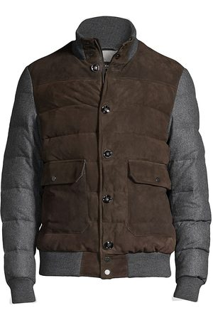 Kiton Men Leather Jackets - Men's Down & Suede Puffer Jacket - Multi - Size 44