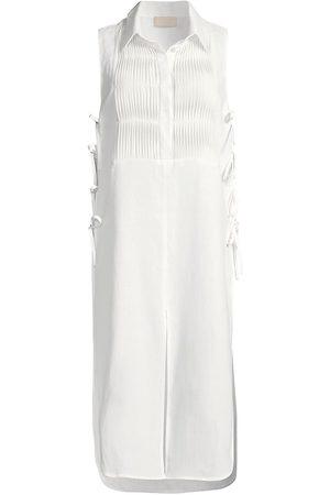 120% Lino Women Tunics - 120% Lino Women's Pintuck Bibfront Tunic - - Size XS