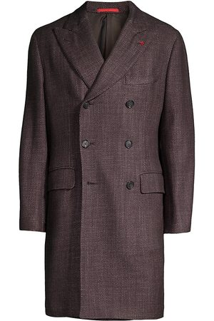 ISAIA Men Coats - Men's Double-Breasted Cashmere & Silk Coat - - Size 42
