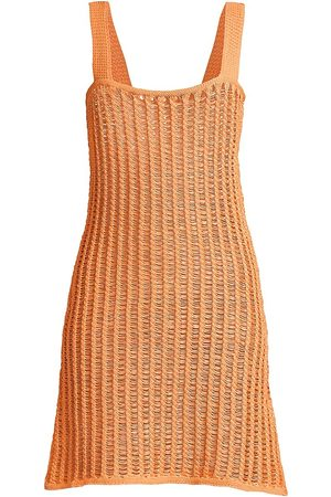 Solid and Striped Women Party Dresses - Women's The Ryan Crochet Dress - Cantaloupe - Size XS