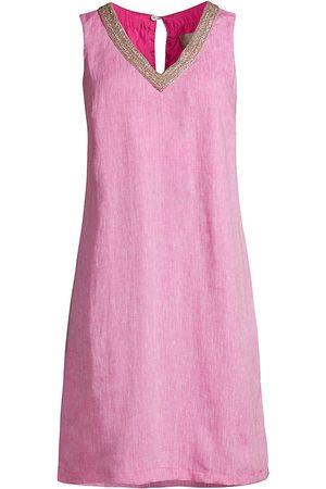 120% Lino Women Dresses - 120% Lino Women's V-Neck Embellished Shift Dress - Orchid - Size XXS