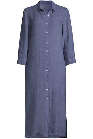 120 Lino Women Midi Dresses - 120% Lino Women's Linen Midi Shirtdress - Linen - Size Large