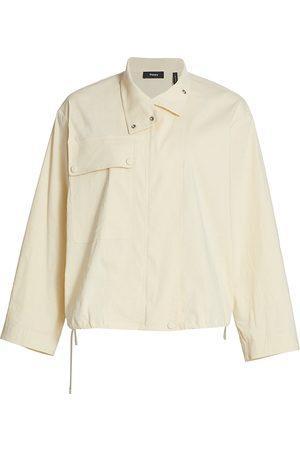 Theory Women's Crop Utility Anorak Jacket - Light Linen - Size XS