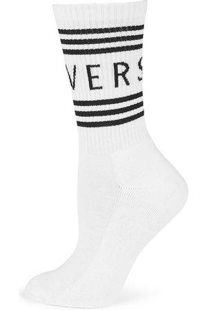 VERSACE Women Socks - Women's Logo Crew Socks - - Size Medium