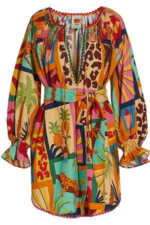 Farm Rio Women Tunic Dresses - Women's Tropical Collage Linen-Blend Tunic Dress - Size XS
