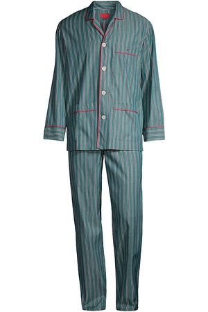 ISAIA Men's Striped Long-Sleeve Pajama Set - Jade With - Size Medium