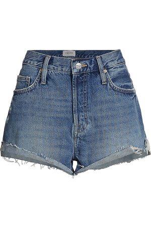 Frame Women Shorts - Front Cuffed Cutoff Denim Shorts