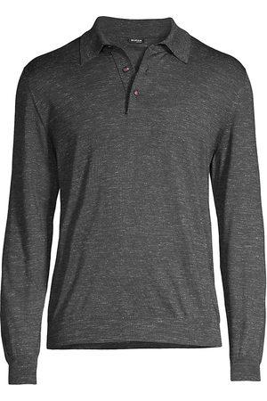 Kiton Men's Long-Sleeve Polo Shirt - Dark Grey - Size Medium