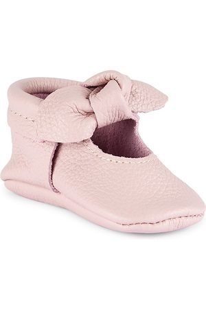 Freshly Picked Girls Loafers - Baby Girl's Knotted Bow Moccasins - Blush - Size 1 (Baby)