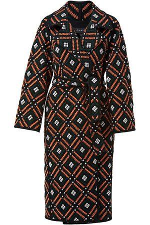 AKRIS Women Trench Coats - Women's Tile-Patterned Wool Trench Coat - Gallus Terracotta - Size 6
