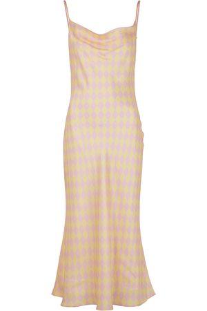Olivia Rubin Aubrey diamond-print satin slip dress