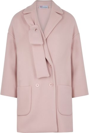RED Valentino Women Coats - Bow-embellished wool-blend coat