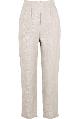 VERONICA BEARD Zeenat stone slim-leg linen trousers