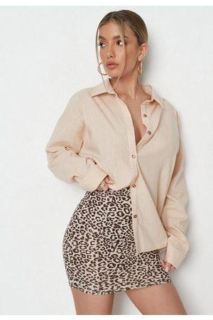 Missguided Stone Leopard Print Mini Skirt