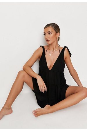 Missguided Cheesecloth Tie Shoulder Ruffle Beach Cover Up Mini Dress